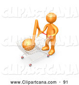 Clip Art of a Friendly Orange Person Pushing a Shopping Cart with an Orange Music Note, Mp3 Music Downloads by 3poD