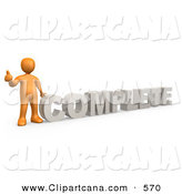 Clip Art of a Friendly Orange Signaling the Thumbs up and Standing Beside the Word COMPLETE by 3poD
