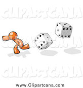 Clip Art of a Gambling Orange Man Running from Dice by Leo Blanchette