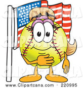 Clip Art of a Girly Softball Character by an American Flag by Toons4Biz