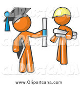 Clip Art of a Graduate Orange Man and Contractor by Leo Blanchette