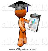 Clip Art of a Graduate Orange Man Holding a Chart on a Clipboard by Leo Blanchette