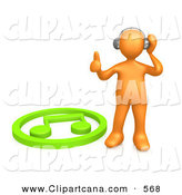 Clip Art of a Groovy Orange Person Listening to Music Through Headphones and Standing by a Green Music Note by 3poD