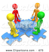 Clip Art of a Group Four of Diverse Diffferent Colored People Standing on Blue Puzzle Pieces and Holding Their Voting Ballots in Envelopes While Looking down at a Ballot Box by 3poD