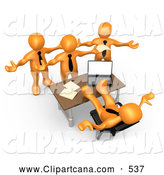 Clip Art of a Group of Angry Orange People Employees Complaining to Their Lazy Worthless Boss As He Sits at His Desk with His Feet up and Does Nothing to Help by 3poD