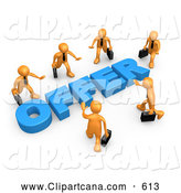 Clip Art of a Group of Competitive Orange Businessmen Carrying Briefcases, Walking in Towards a Blue Offer, Symbolizing Job Searching and Competition by 3poD