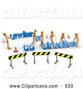 Clip Art of a Group of Construction Zone of Orange Men Carrying Letters Reading Under Construction by 3poD