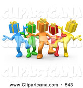Clip Art of a Group of Diverse and Colorful People with Present Heads, Dancing at a Party on White by 3poD