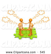 Clip Art of a Group of Four Orange People Holding Hands and Standing on Connected Green Puzzle Pieces, with Thought Clouds Above by 3poD