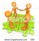 September 21st, 2013: Clip Art of a Group of Four Orange People Holding Hands While Standing on Connected Green Puzzle Pieces, Symbolizing Teamwork by 3poD