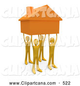 Clip Art of a Group of Four Orange People Holding up a Home, Symbolizing Teamwork, Strong Foundation, Support, and Strong Relationships by 3poD