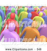 Clip Art of a Group of Many Colorful Diverse People Standing in a Crowd and Looking Slightly Upwards by 3poD