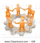 Clip Art of a Group of Orange Business Colleagues Holding Hands and Standing in a Circle on a Cog Gear, Symbolizing Teamwork and Support, on White by 3poD