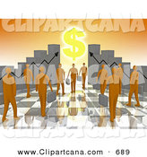 Clip Art of a Group of Orange Men Carrying Briefcases Towards an Entrance Framed by Bar Graph Charts with a Dollar Symbol Shining like the Sun by 3poD