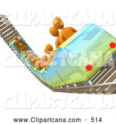 Clip Art of a Group of Orange People Riding a Roller Coaster on Rails in an Amusement Park by 3poD