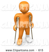 Clip Art of a Handicapped 3D Orange Person with a Cast on His Broken Foot, Using a Pair of Crutches to Get Around by 3poD