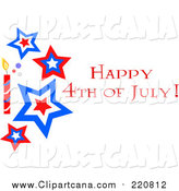 Clip Art of a Happy Fourth of July Star and Firework Greeting by
