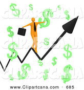 Clip Art of a Happy Orange Businessman Carrying a Briefcase and Balancing on an Increasing Black Arrow of a Graph Through Floating Green Dollar Symbols on White by 3poD