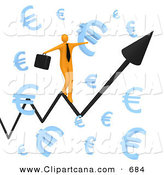 Clip Art of a Happy Orange Businessperson Carrying a Briefcase and Balancing on an Increasing Black Arrow of a Graph Through Floating Blue Euro Symbols by 3poD