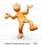 Clip Art of a Happy Orange Man Doing a Dance by 3poD