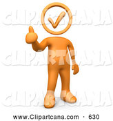 Clip Art of a Happy Orange Person Holding with a Check Mark Head, Giving the Thumbs up by 3poD