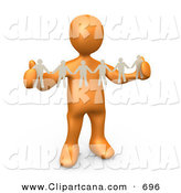 Clip Art of a Happy Orange Person, Such As a Boss or Manager, Holding a Strand of Paper People, Symbolizing Control or Teamwork by 3poD