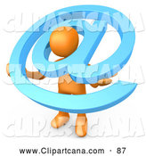 Clip Art of a Helpful Orange Person Carrying a Large Blue at Email Symbol Around His Shoulders by 3poD