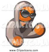 Clip Art of a Hooded Orange Man with Shades by Leo Blanchette