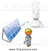 Clip Art of a Installer Orange Man with an Energy Saver Light Bulb and Solar Panel by Leo Blanchette