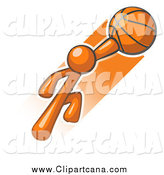 Clip Art of a Jumping Orange Man with a Basketball by Leo Blanchette
