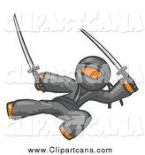 Clip Art of a Kicking Orange Ninja by Leo Blanchette