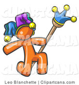 Clip Art of a Kneeling Court Jester by Leo Blanchette