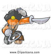 Clip Art of a Kneeling Orange Pirate Man with a Hook Hand and a Sword by Leo Blanchette