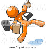 Clip Art of a Late and Rushed Orange Woman Slipping on a Puddle of Water by Leo Blanchette