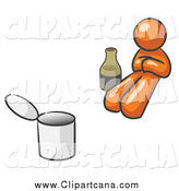 Clip Art of a Lazy Orange Design Mascot Man Bum with Alcohol and a Can by Leo Blanchette