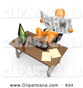 Clip Art of a Lazy Orange Employee Businessman or Manager Slacking While Leaning Back in Their Chair with Their Feet up on a Computer Desk, and Reading a Newspaper Instead of Working by 3poD