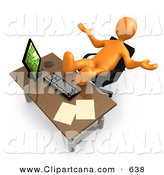 Clip Art of a Lazy Orange Employee or Manager Slacking off While Leaning Back in Their ChairLazy Orange Employee or Manager Slacking off While Leaning Back in Their Chair by 3poD