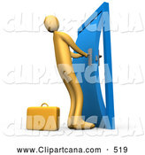 Clip Art of a Long Orange Person by a Briefcase, Struggling to Yank Open a Door That Is Stuck in the Frame by 3poD