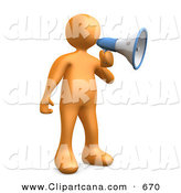 Clip Art of a Loud Orange Guy Announcing Through a Megaphone by 3poD