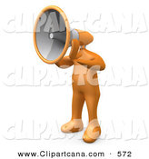 Clip Art of a Loud Orange Man with a Megaphone As a Head, Symbolizing Announcements or Someone Trying to Make a Stand by 3poD