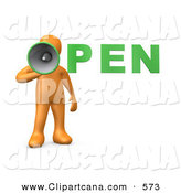 Clip Art of a Loud Orange Person Holding a Megaphone with the Word OPEN by 3poD