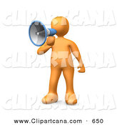 Clip Art of a Loud Orange Person Speaking Through a Megaphone by 3poD