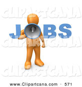 Clip Art of a Loud Orange Person Speaking Through a Megaphone with the Word Jobs, Recruiting People for Occupations by 3poD