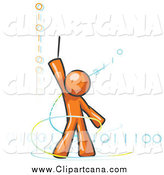 Clip Art of a Magic OrangeDesign Mascot Man Composing Binary Code by Leo Blanchette