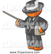 Clip Art of a Male Orange Teacher Using a Pointer in a Black Suit by Leo Blanchette