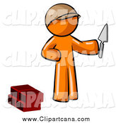 Clip Art of a Mason Orange Man Brick Layer Holding a Trowel by Leo Blanchette