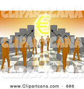 Clip Art of a Mass of Orange People Carrying Briefcases Towards an Entrance Framed by Bar Graph Charts with a Euro Symbol Shining like the Sun by 3poD
