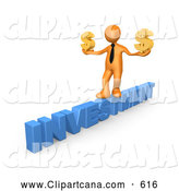 Clip Art of a Money Hungry 3D Orange Businessman Walking Across the Blue Word INVESTMENT and Carrying Two Golden Dollar Signs in His Hands by 3poD
