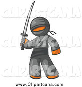Clip Art of a Ninja Orange Man by Leo Blanchette