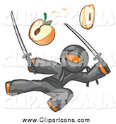Clip Art of a Ninja Orange Man Jumping and Slicing an Apple with Swords by Leo Blanchette